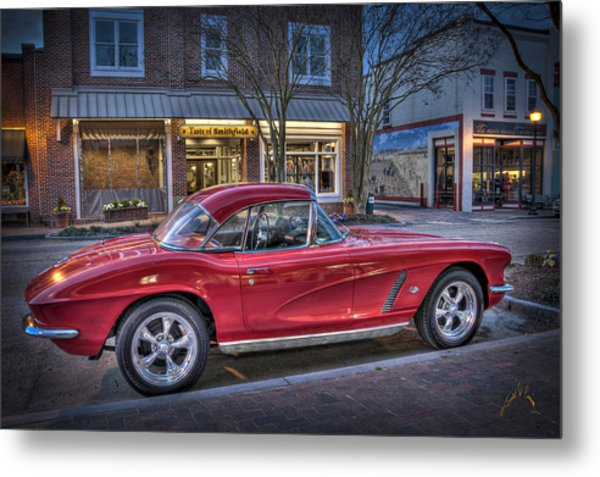 Red Corvette Metal Print by Williams-Cairns Photography LLC
