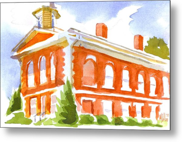 Red Courthouse With Evergreen Metal Print