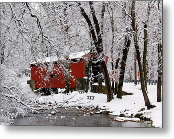 Red Covered Bridge Winter 2013 Metal Print