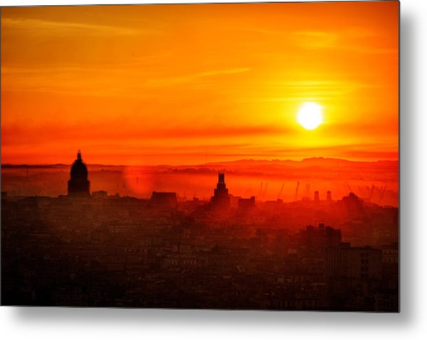 Red Dawn In Havana Metal Print