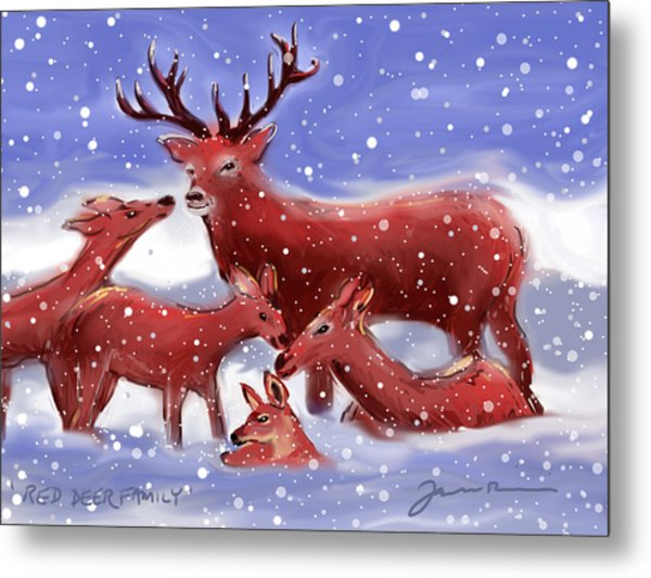 Red Deer Family Metal Print