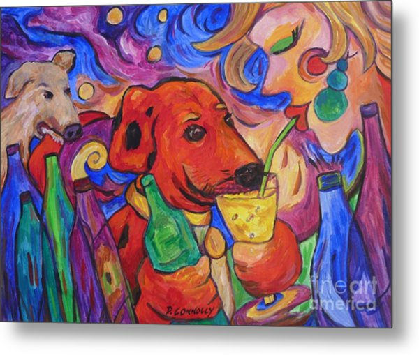 Red Dirk Dog And Rita Drink Metal Print