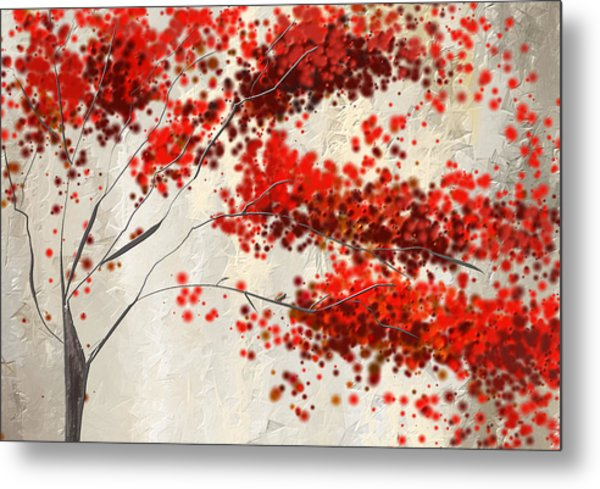 Red Divine- Autumn Impressionist Metal Print