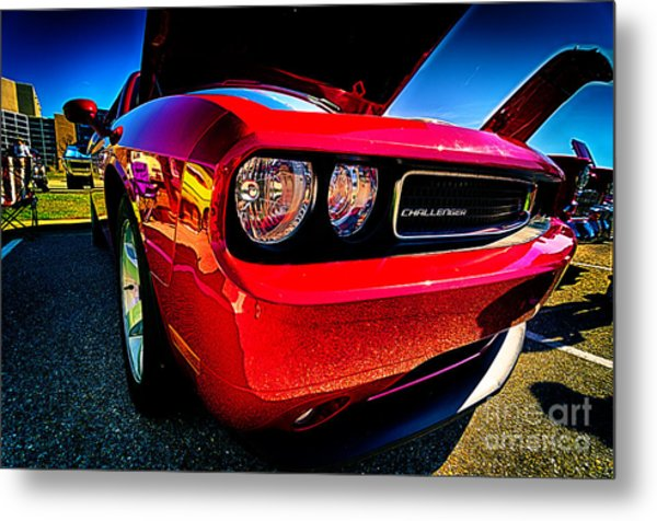 Red Dodge Challenger Vintage Muscle Car Metal Print