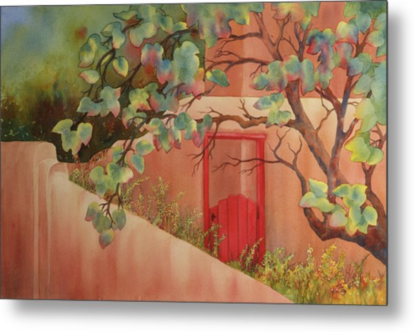 Red Door In Adobe Wall Metal Print