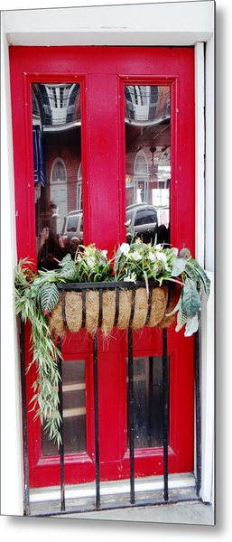 Red Door New Orleans Reflection Metal Print