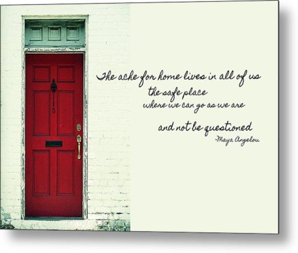 Red Door Quote Metal Print by JAMART Photography