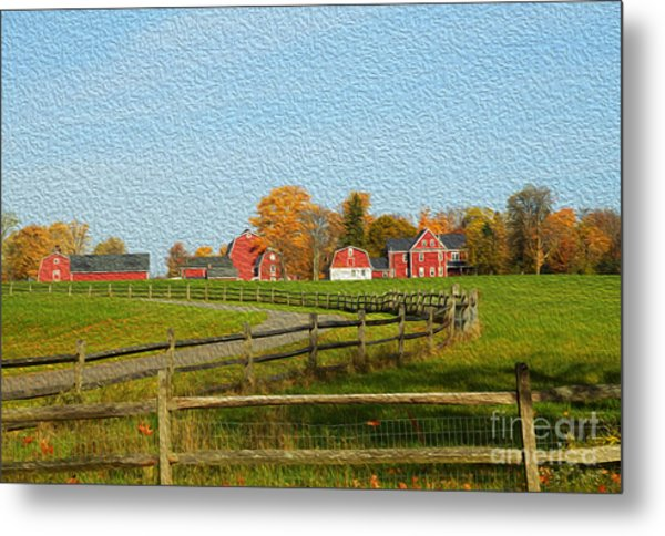 Red Farm House And Barns Metal Print
