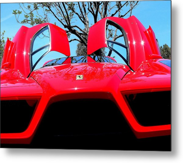 Metal Print featuring the photograph Red Ferrari Doors Open And Front Air Intakes by Jeff Lowe