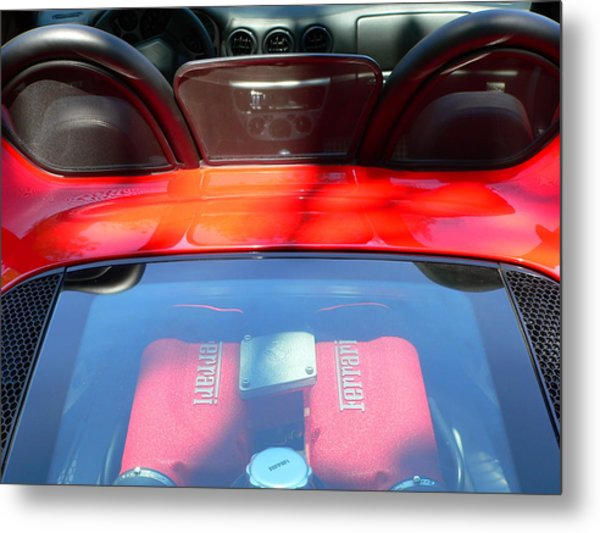 Metal Print featuring the photograph Red Ferrari Engine And Seats by Jeff Lowe