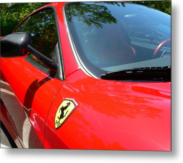 Metal Print featuring the photograph Red Ferrari Right Side by Jeff Lowe