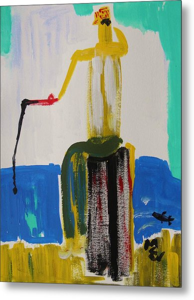 Red Fishing Pole Metal Print by Mary Carol Williams