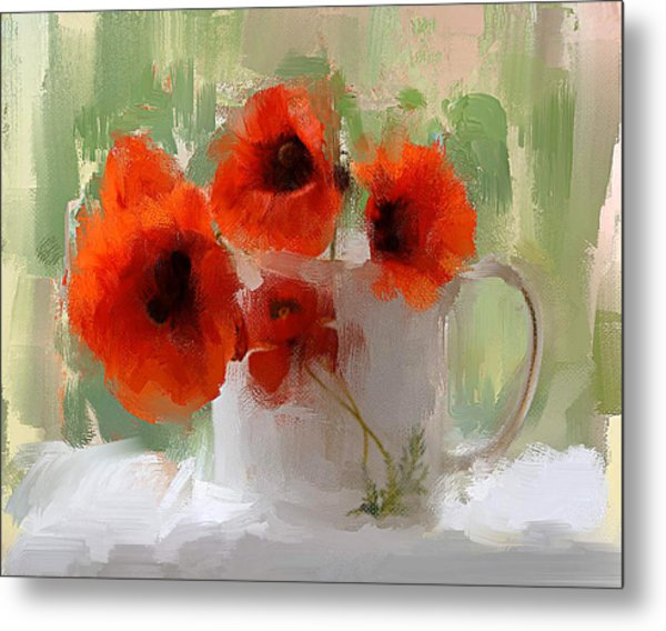 Red Flowers In A Cup Metal Print