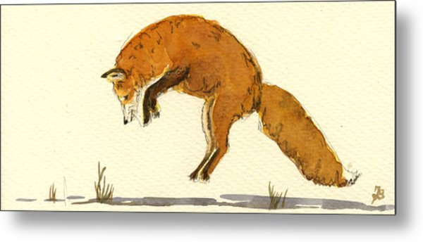 Red Fox Jumping Metal Print by Juan  Bosco