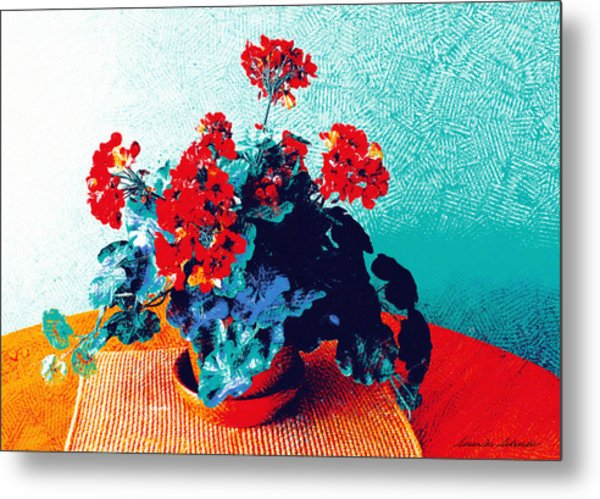 Red Geraniums Still Life Metal Print