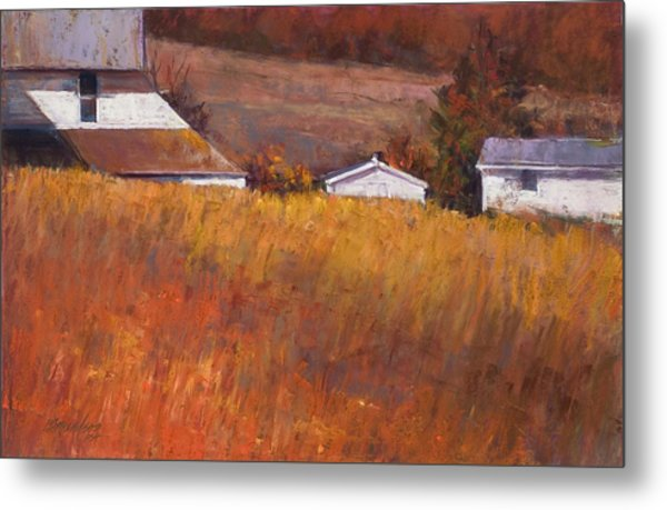 Red Grass Metal Print by Beverly Amundson