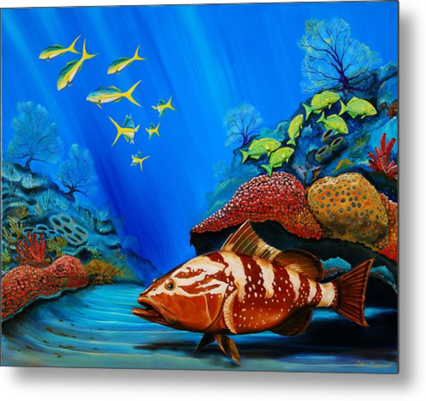 Metal Print featuring the painting Red Grouper by Steve Ozment