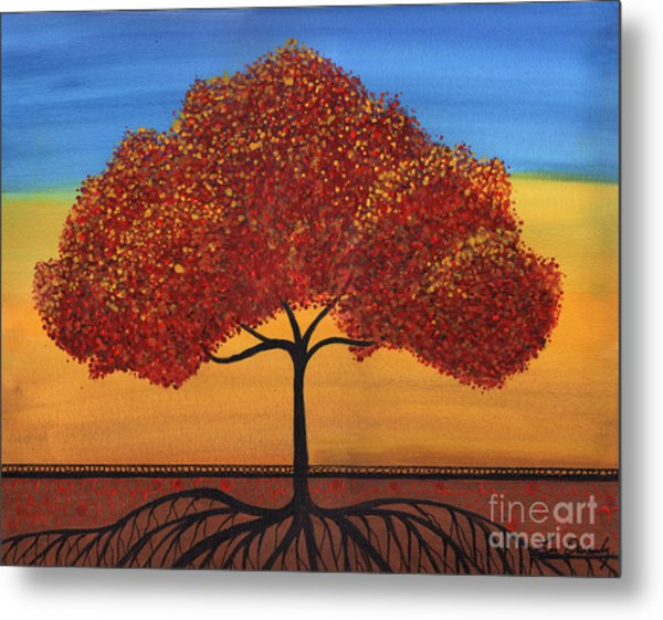 Red Happy Tree Metal Print
