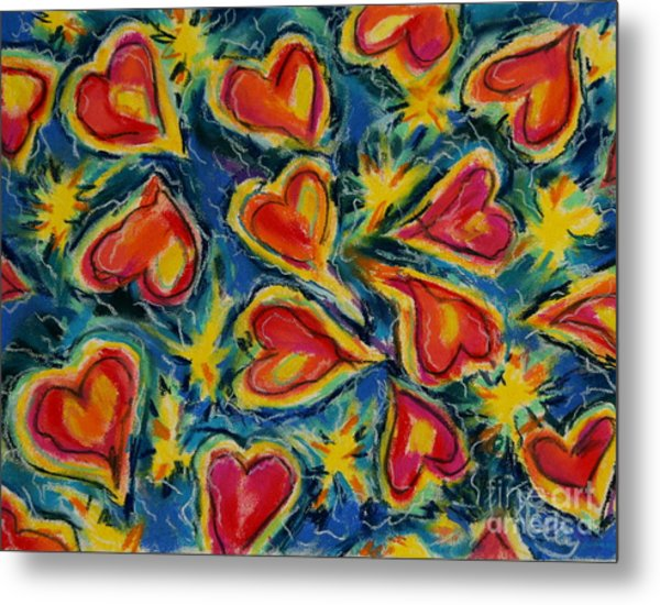 Red Hearts Dancing Metal Print by Kelly Athena