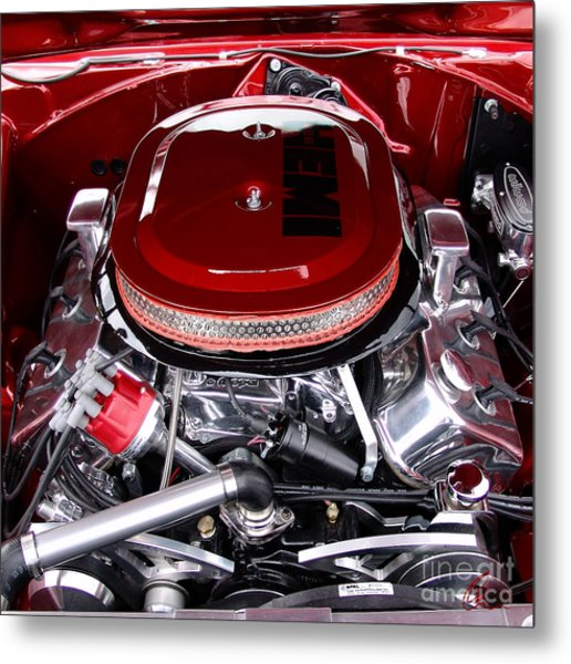 Red Hemi Sq Metal Print