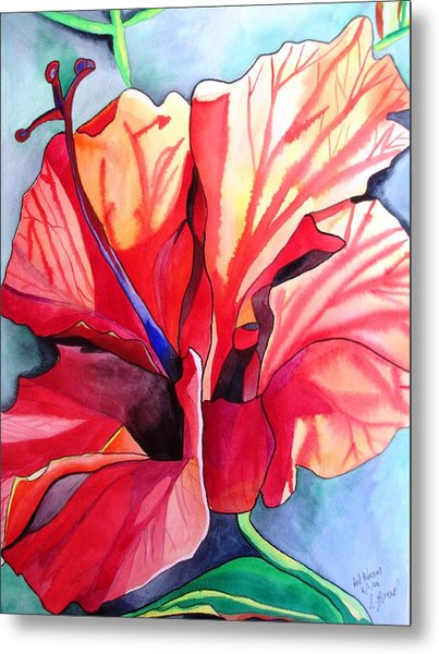 Red Hibiscus Tropical Flower Metal Print by Sacha Grossel