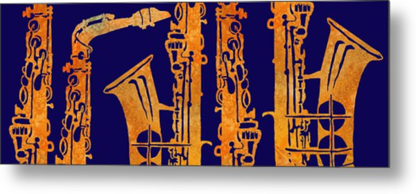 Red Hot Sax Keys Metal Print