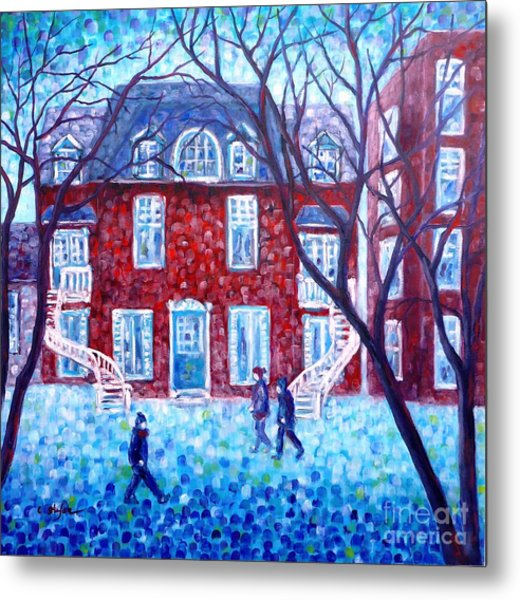 Metal Print featuring the painting Red House In Montreal - Cityscape by Cristina Stefan