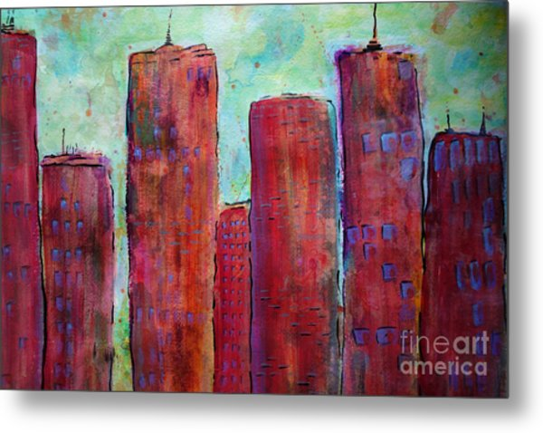 Red In The City Metal Print