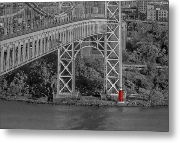 Red Lighthouse And Great Gray Bridge Bw Metal Print