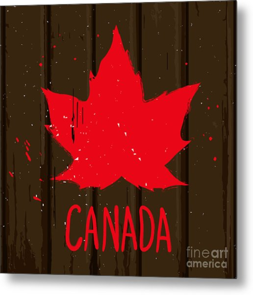 Red Maple Leaf On Brown Wood Wall Metal Print
