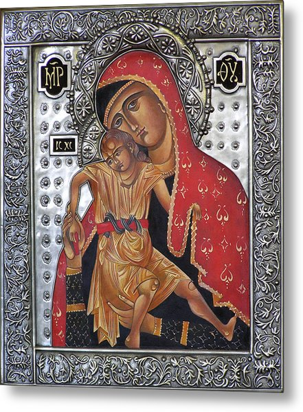 Red Mary Metal Print by Mary jane Miller