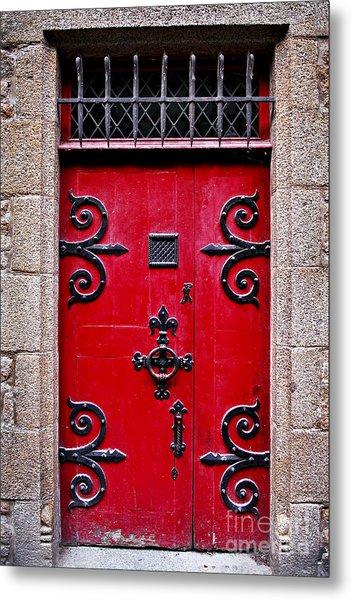 Red Medieval Door Metal Print