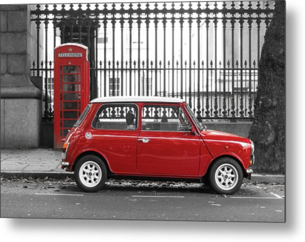 Red Mini Cooper In London Metal Print