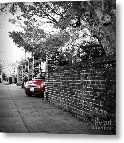 Red Mini Cooper- The Debut Metal Print
