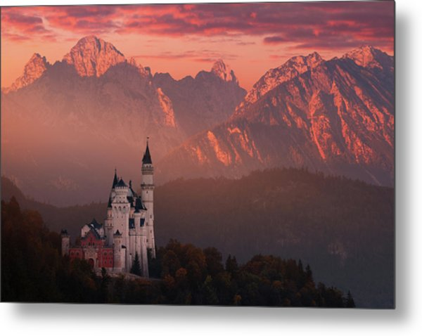 Red Morning Above The Castle Metal Print