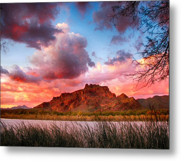 Red Mountain Sunset Metal Print