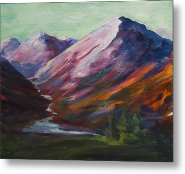 Red Mountain Surreal Mountain Lanscape Metal Print