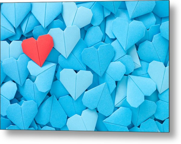 Red Paper Heart Metal Print by Fotografiabasica