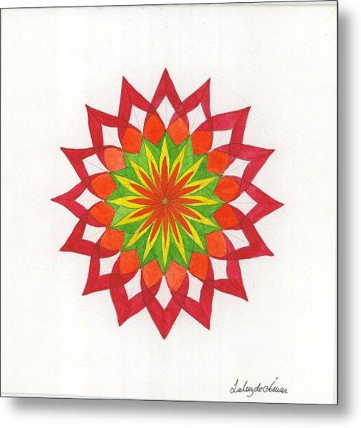 Red Passion Mandala Metal Print by Silvia Justo Fernandez