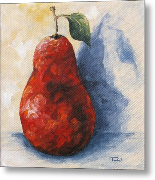 Red Pear With Shadow Metal Print