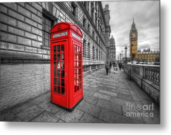 Red Phone Box And Big Ben Metal Print