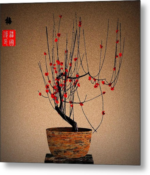 Red Plum Blossoms Metal Print by GuoJun Pan
