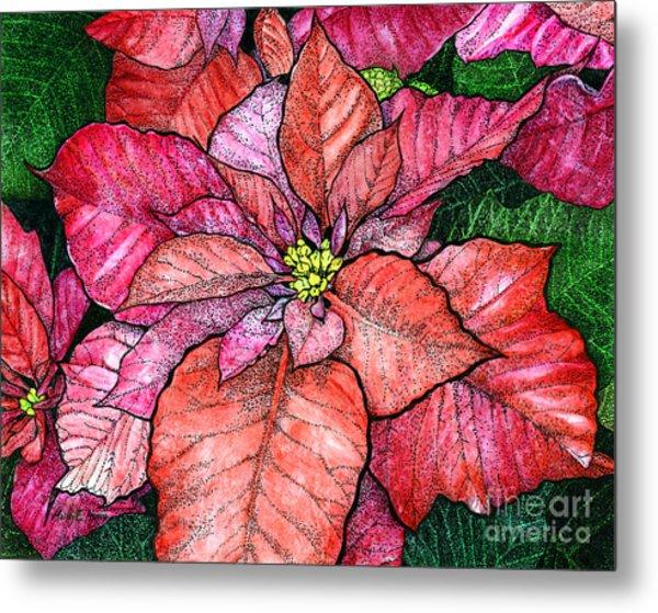 Red Poinsettias II Metal Print