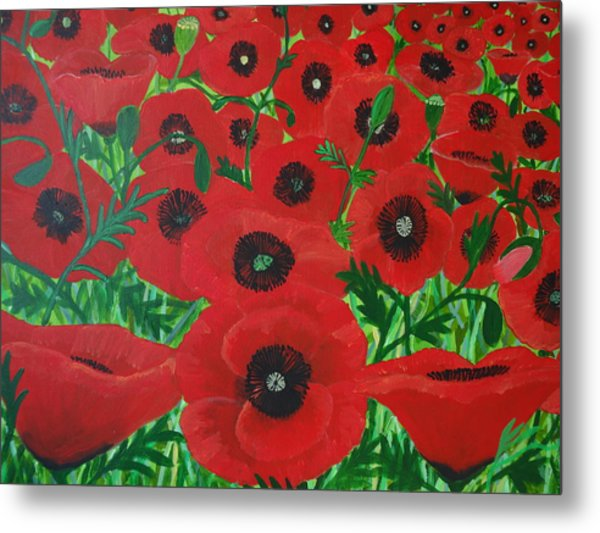 Red Poppies 1 Metal Print