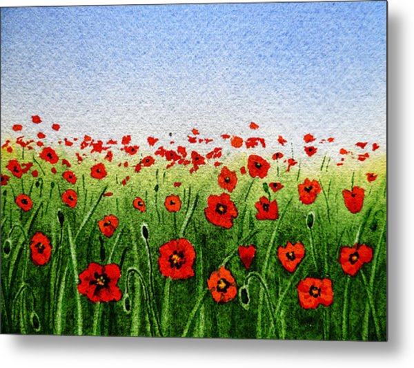 Red Poppies Green Field And A Blue Blue Sky Metal Print