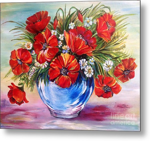 Red Poppies In Blue Vase Metal Print
