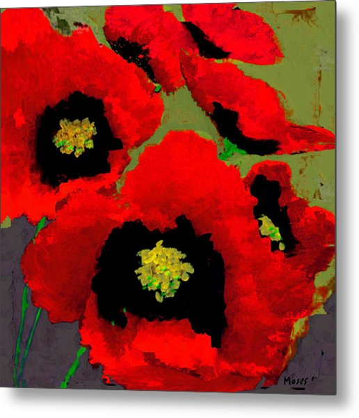 Red Poppies On Olive Metal Print