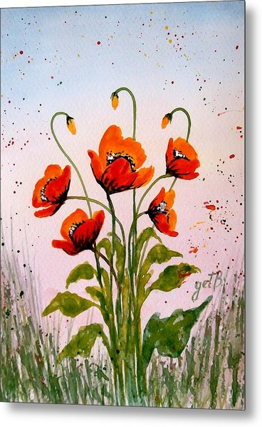 Red Poppies Original Watercolor  Metal Print