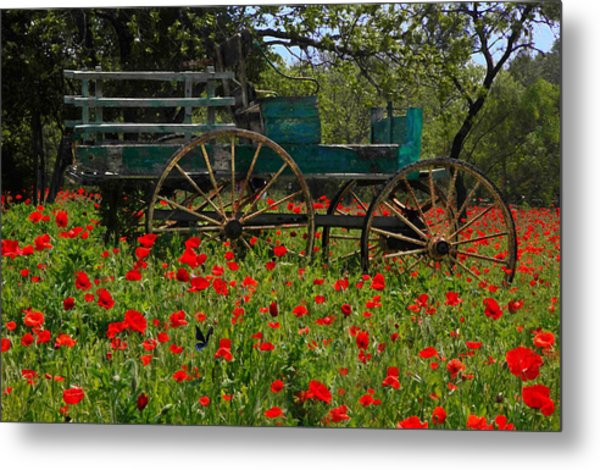 Red Poppies With Wagon Metal Print