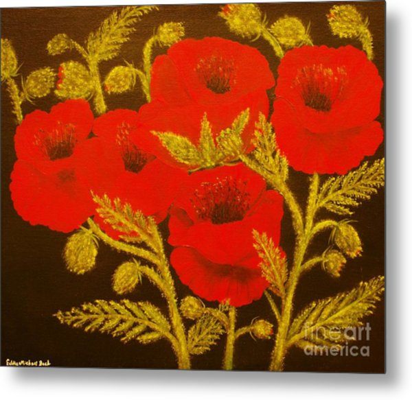Red Poppy-original Sold-buy Giclee Print Nr 31 Of Limited Edition Of 40 Prints  Metal Print by Eddie Michael Beck